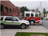 Loveland Fire Department truck and Gettysburg police vehicle