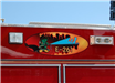 Painting on side of fire truck engine