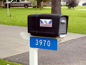 Reflective Address Sign on a Mailbox