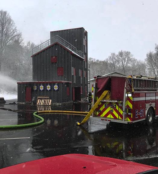 Firefighter training facilitie in winter